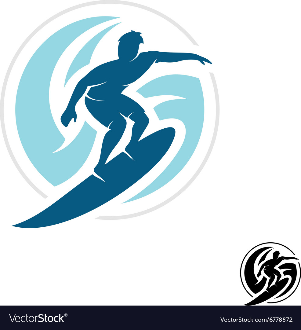 Surf logo with man silhouette board and sea waves