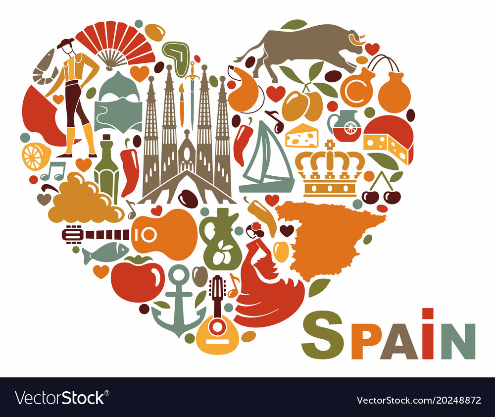 Symbols Of Spain In Heart Shape Royalty Free Vector Image