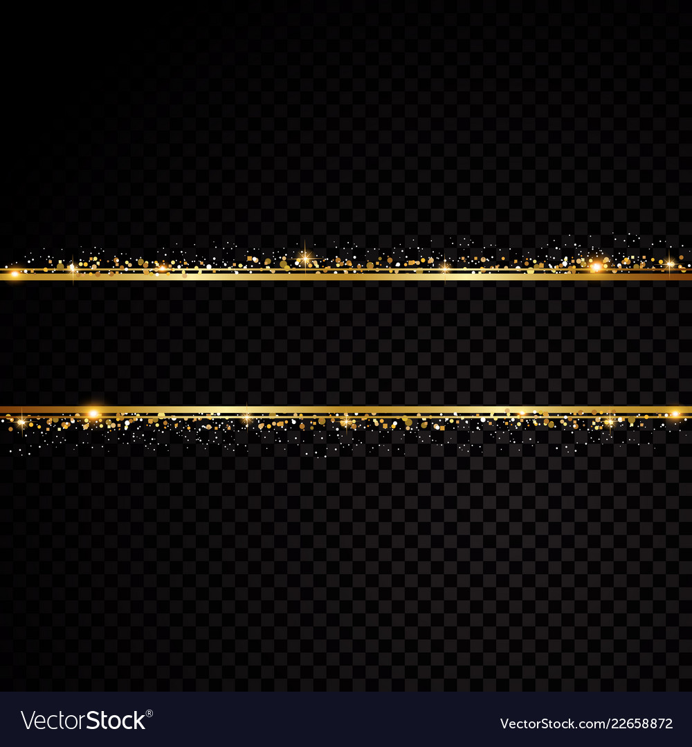 Two golden lines with light effects isolated on