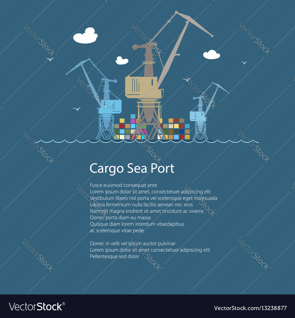 Cargo cranes at sea and text