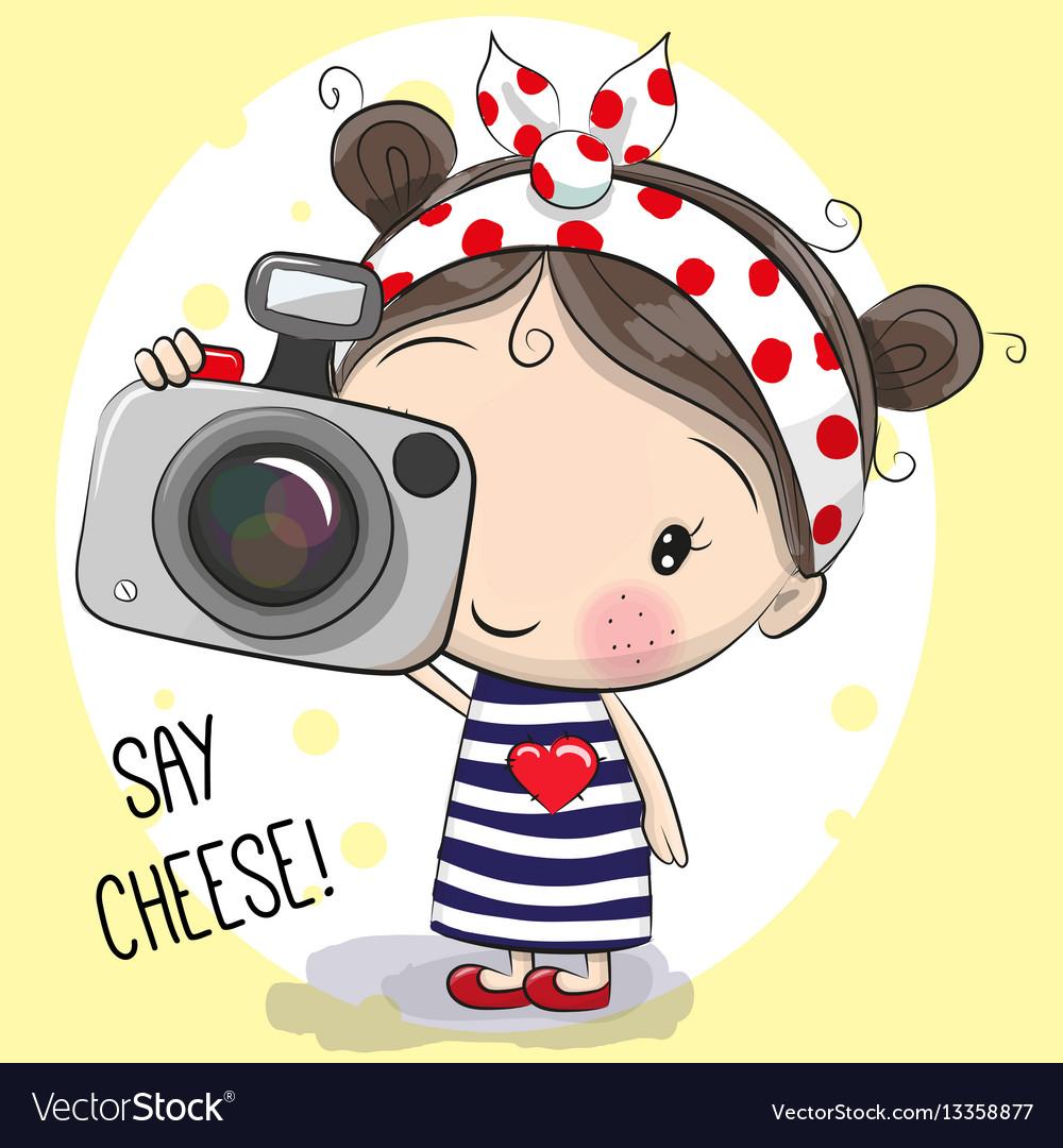 cute cartoon girl with a camera royalty free vector image