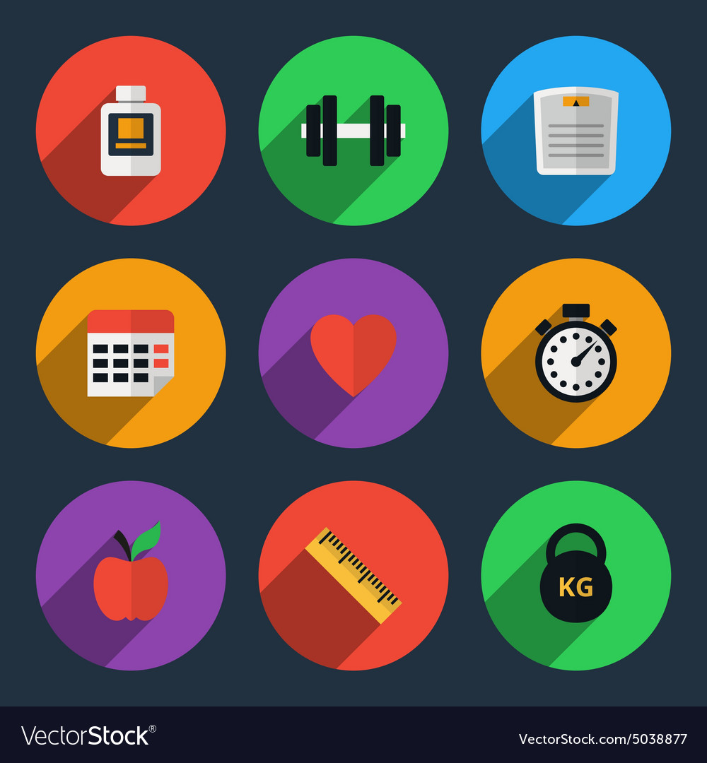Fitness tracker flat icons vector image