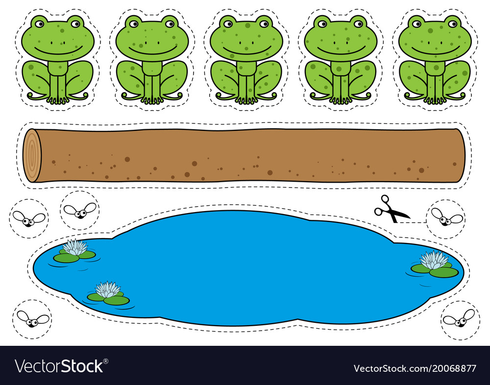 Five little speckled frogs game Royalty Free Vector Image