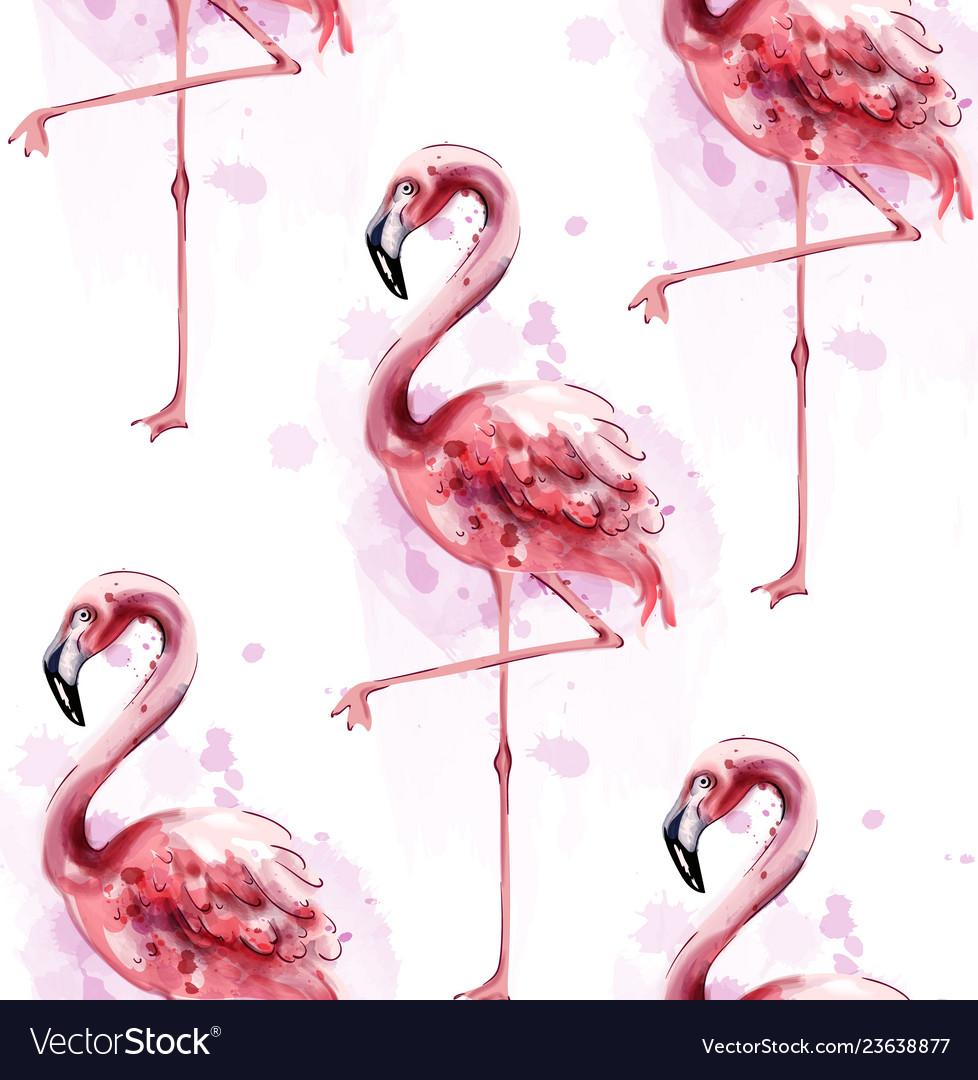 Flamingo pattern watercolor exotic bird