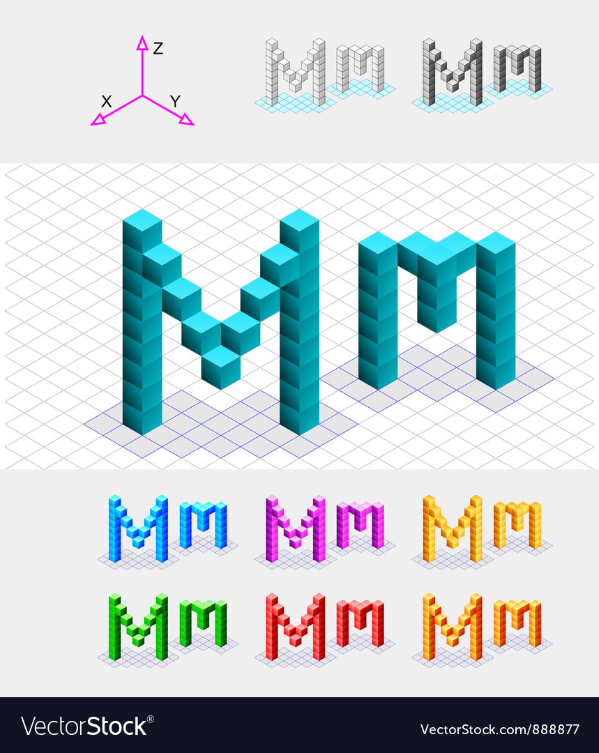 Isometric font from the cubes Letter M vector image