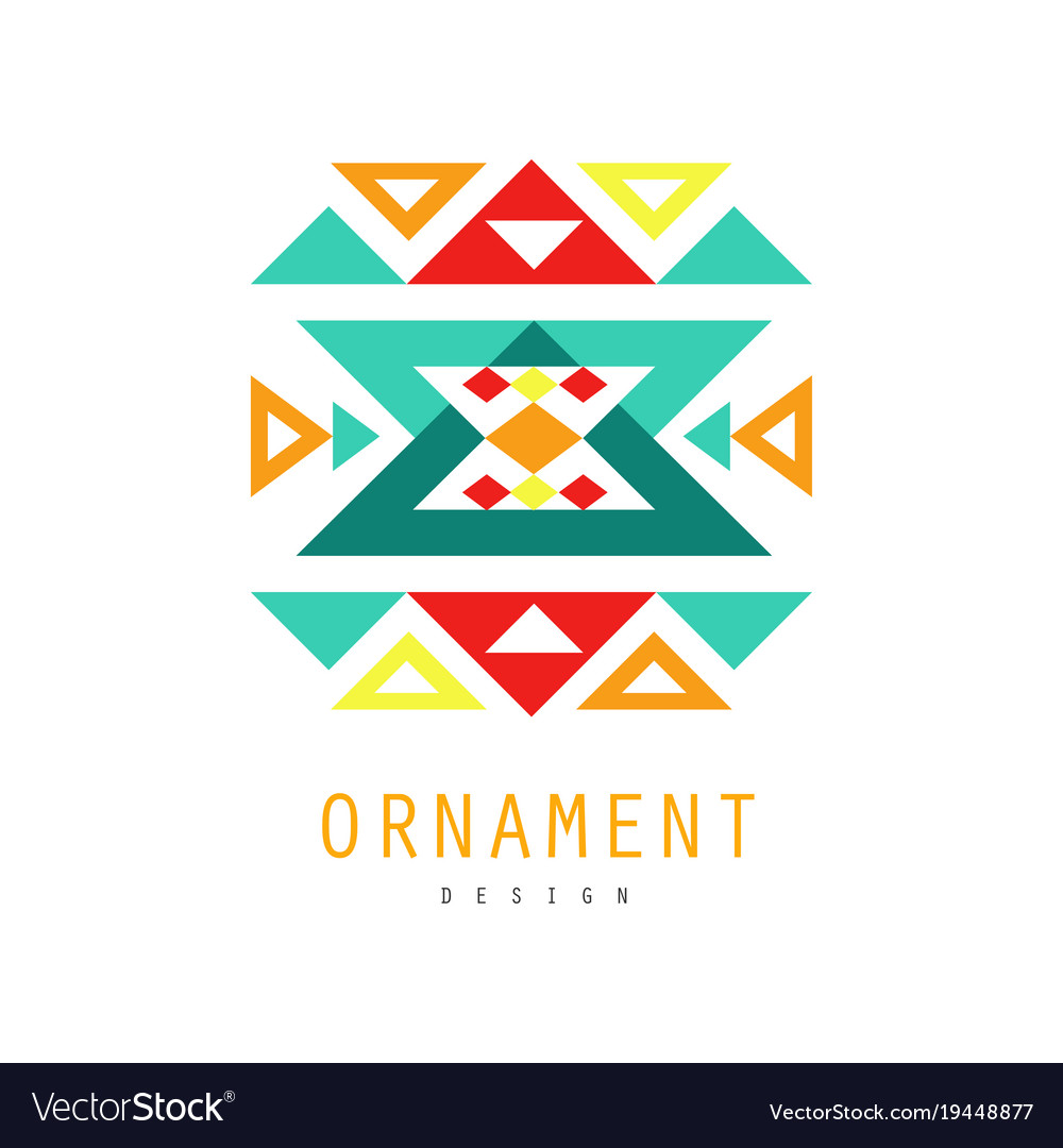 Ornament logo template colorful ornate pattern