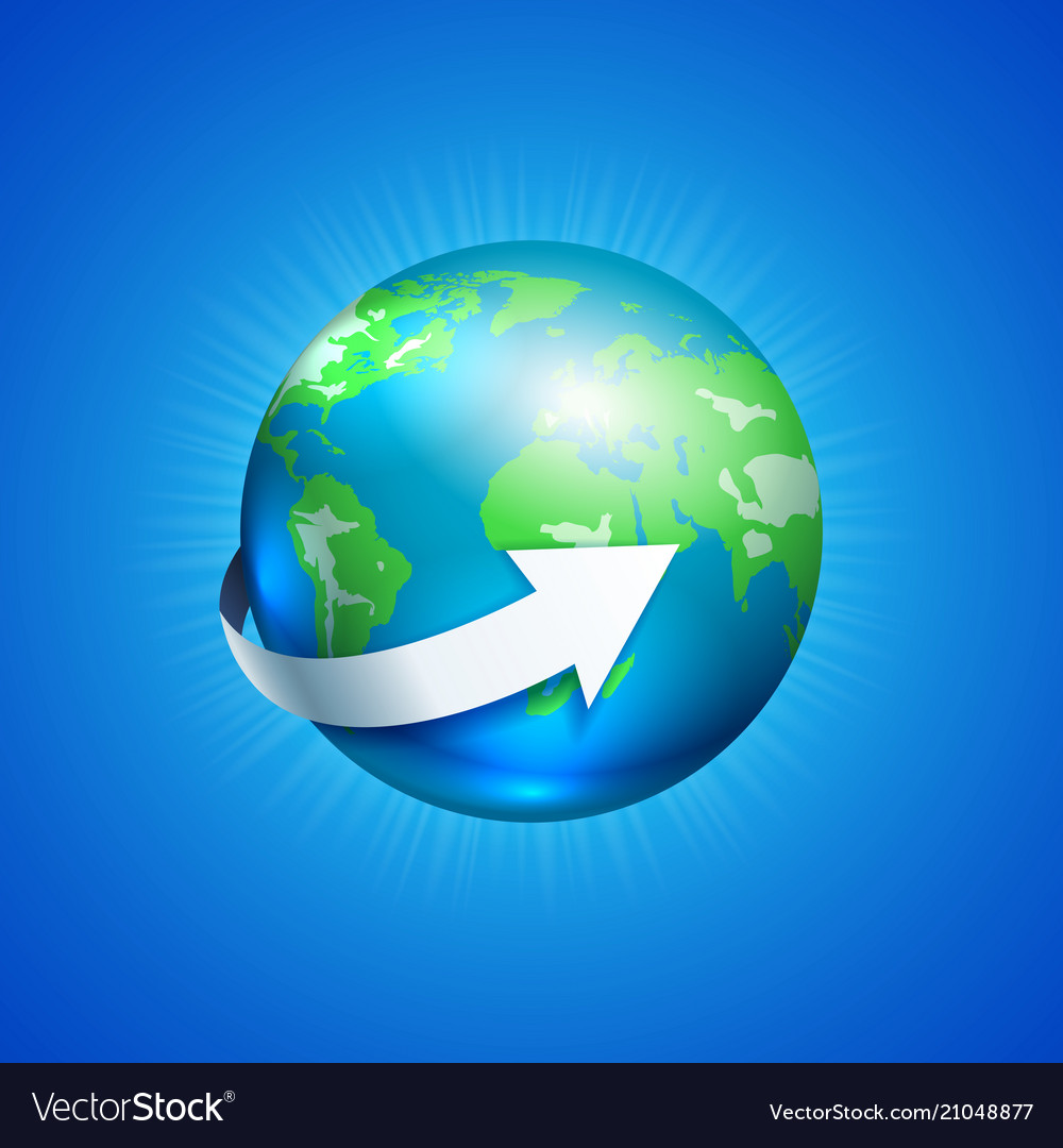 Planet earth with white arrow