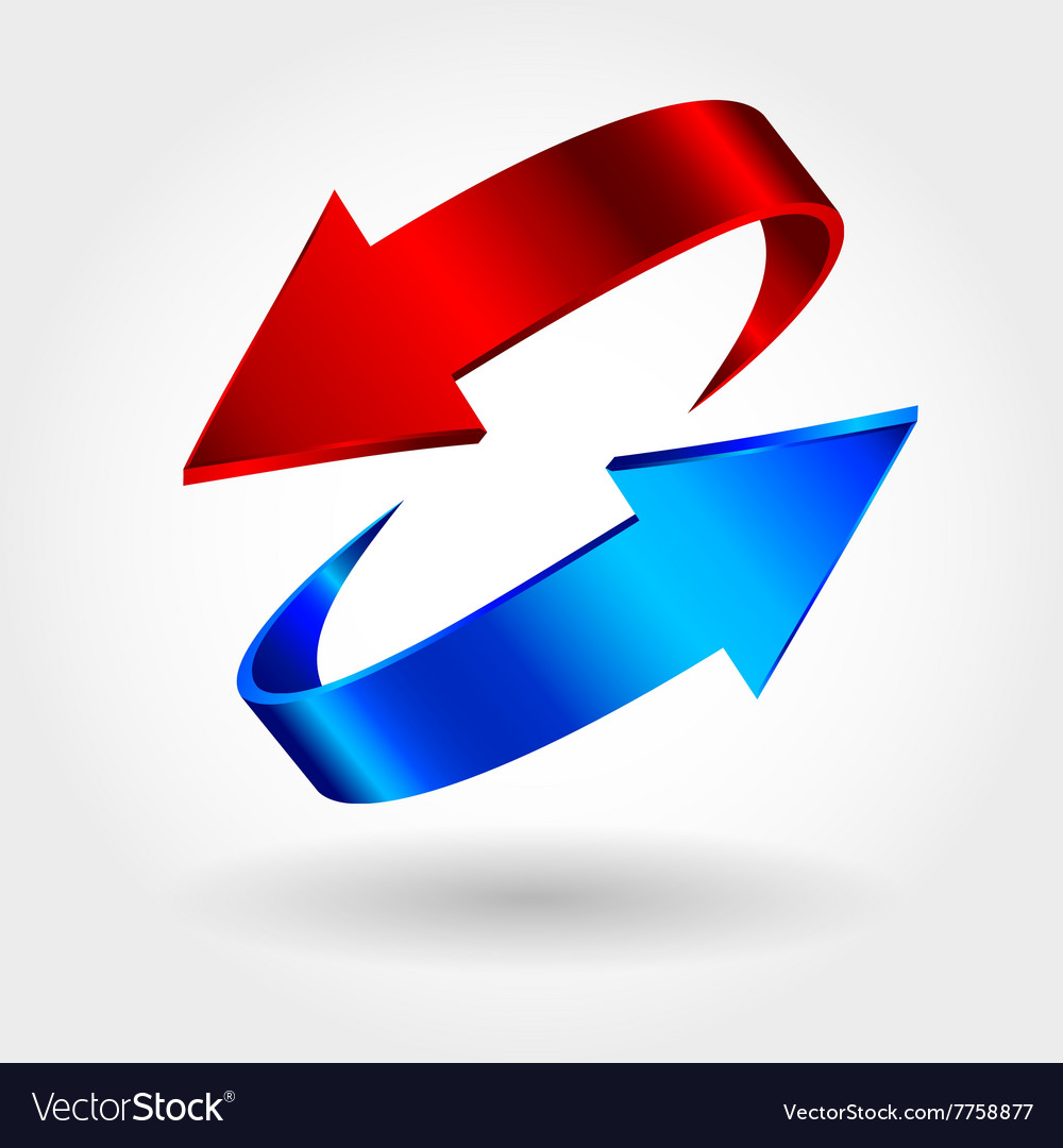 Red and blue arrows are moving towards Arrows sign