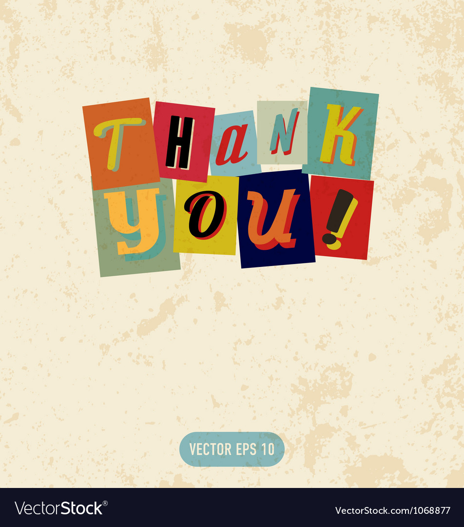 Thank you sign in retro doodle style vector image