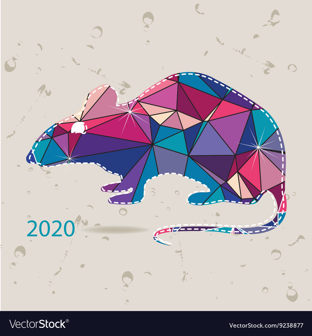 New Years Cards 2020 The 2020 new year card with Rat made of triangles Vector Image