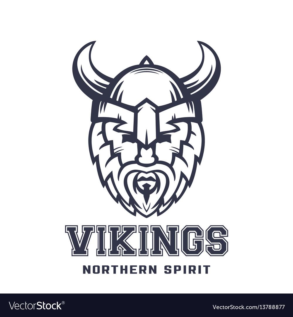 Vikings logo bearded warrior in helmet with horns