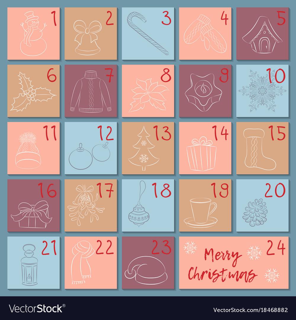 Advent retro style calendar sketch christmas