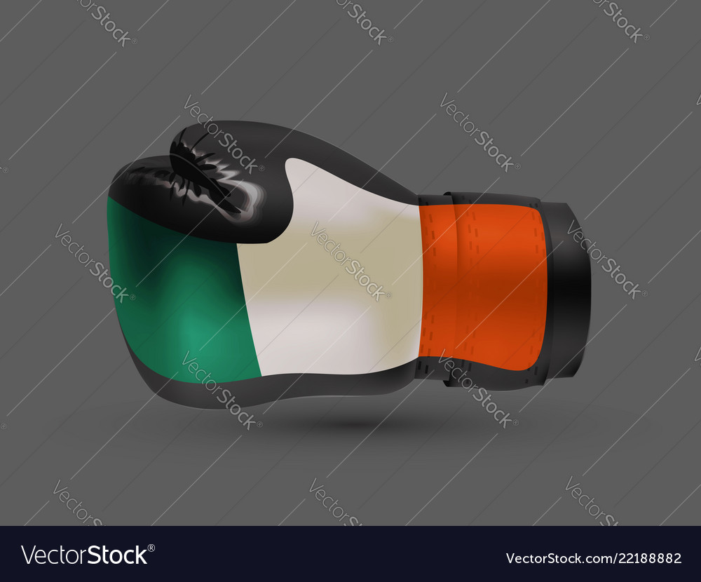 Boxing gloves with prints of irish and russian