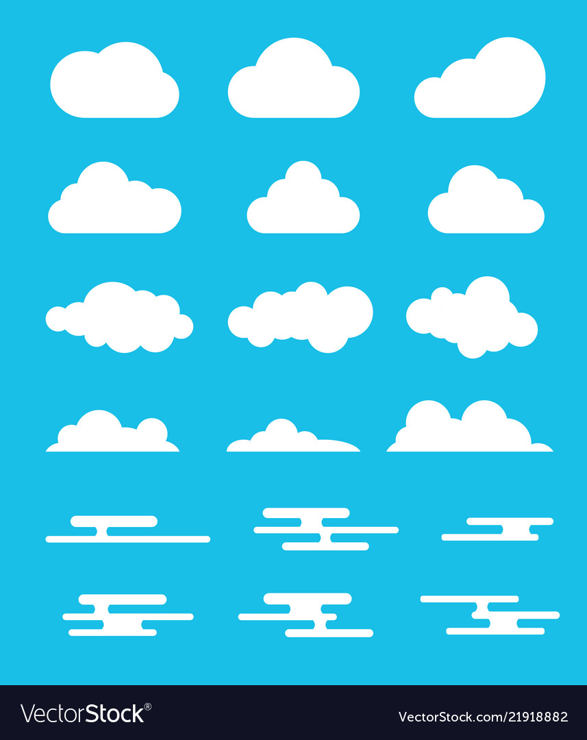 Cloud set collection with modern or flat style