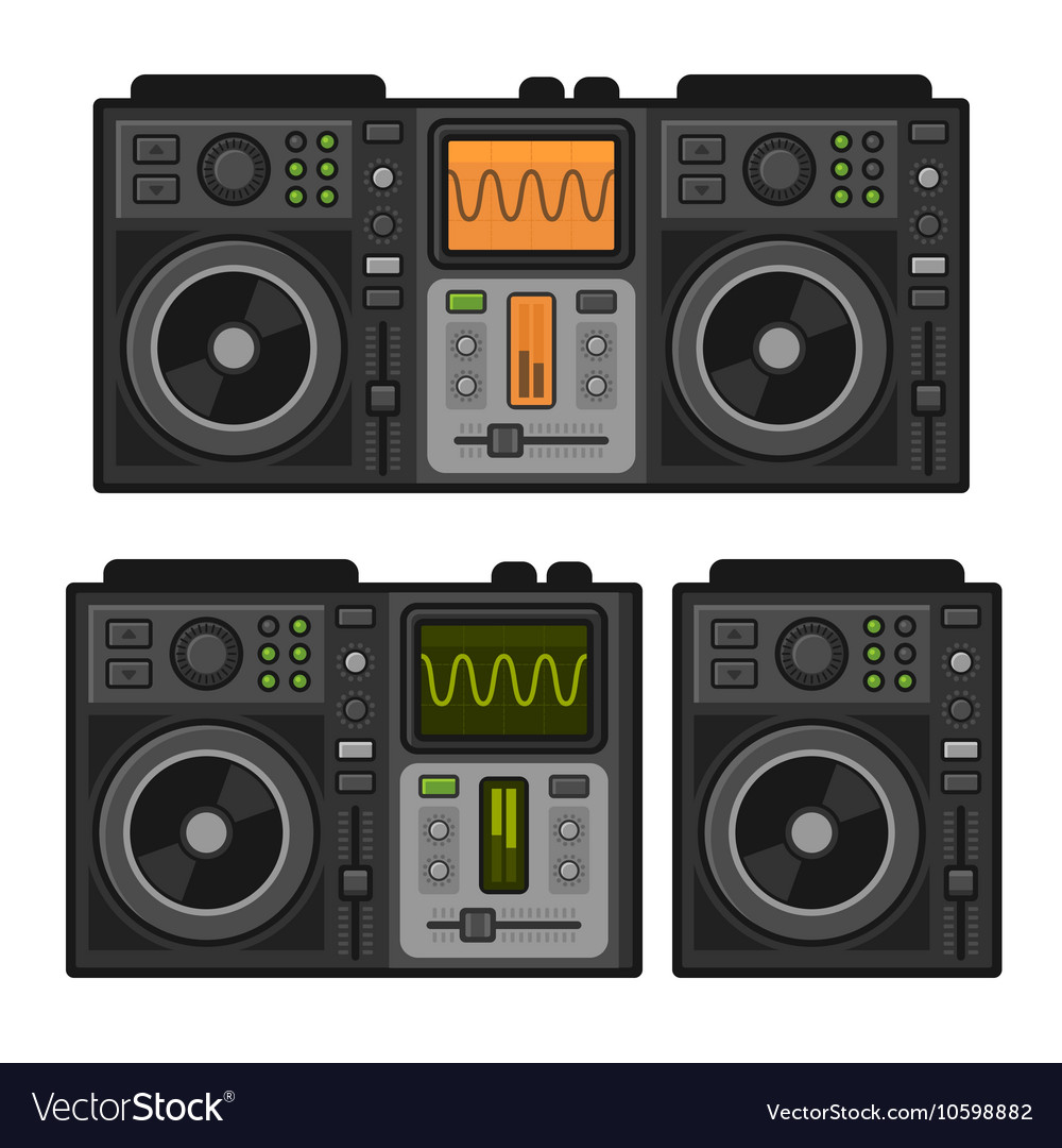 Dj Sound Mixer Set Flat Design Style