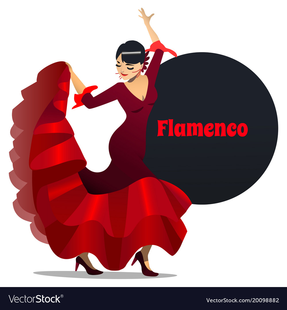Flamenco Dancer In Cartoon Style Royalty Free Vector Image