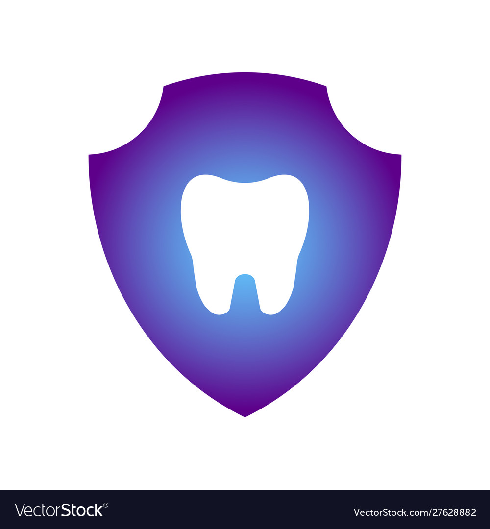 Glowing tooth image inside a purple shield tooth