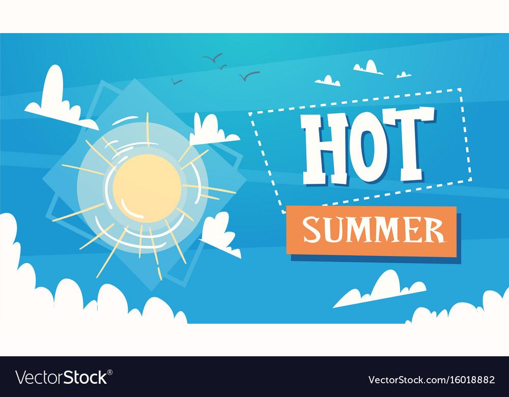 Hot summer vacation sunshine in blue sky travel