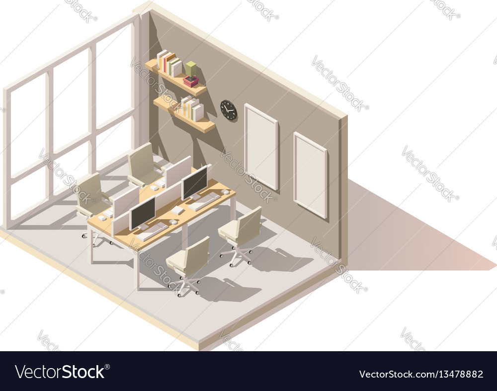 Isometric low poly office room