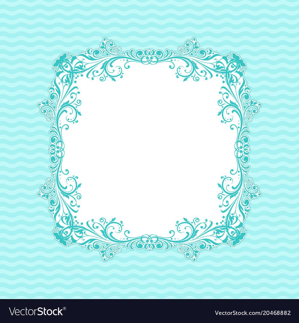 Ornamental Frame On Light Blue Wave Background