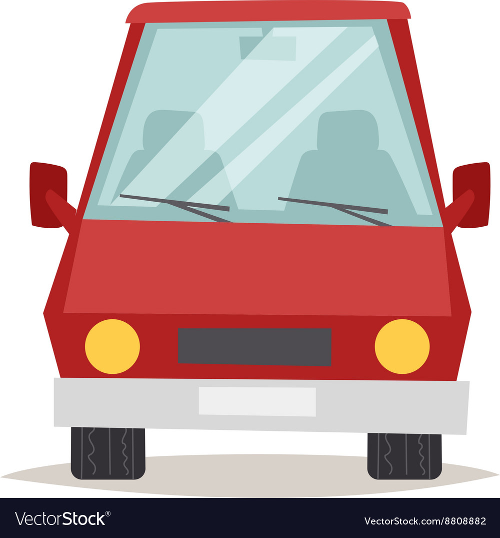 Red cartoon car front view design flat vector image