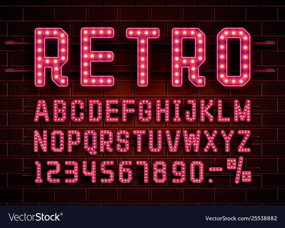 Retro font vintage light sign set