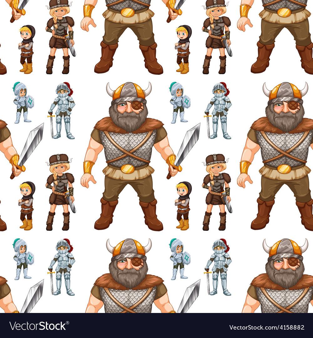 Seamless knight and viking