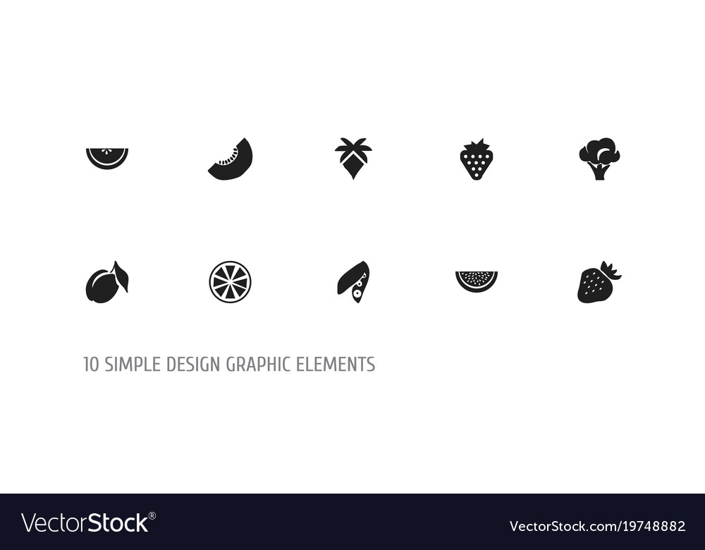 set of 10 editable fruits icons includes symbols vector image