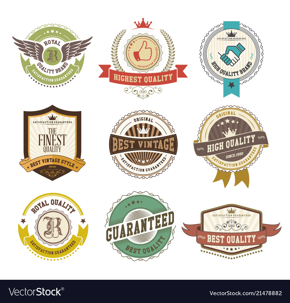 Set of labels and badges retro style