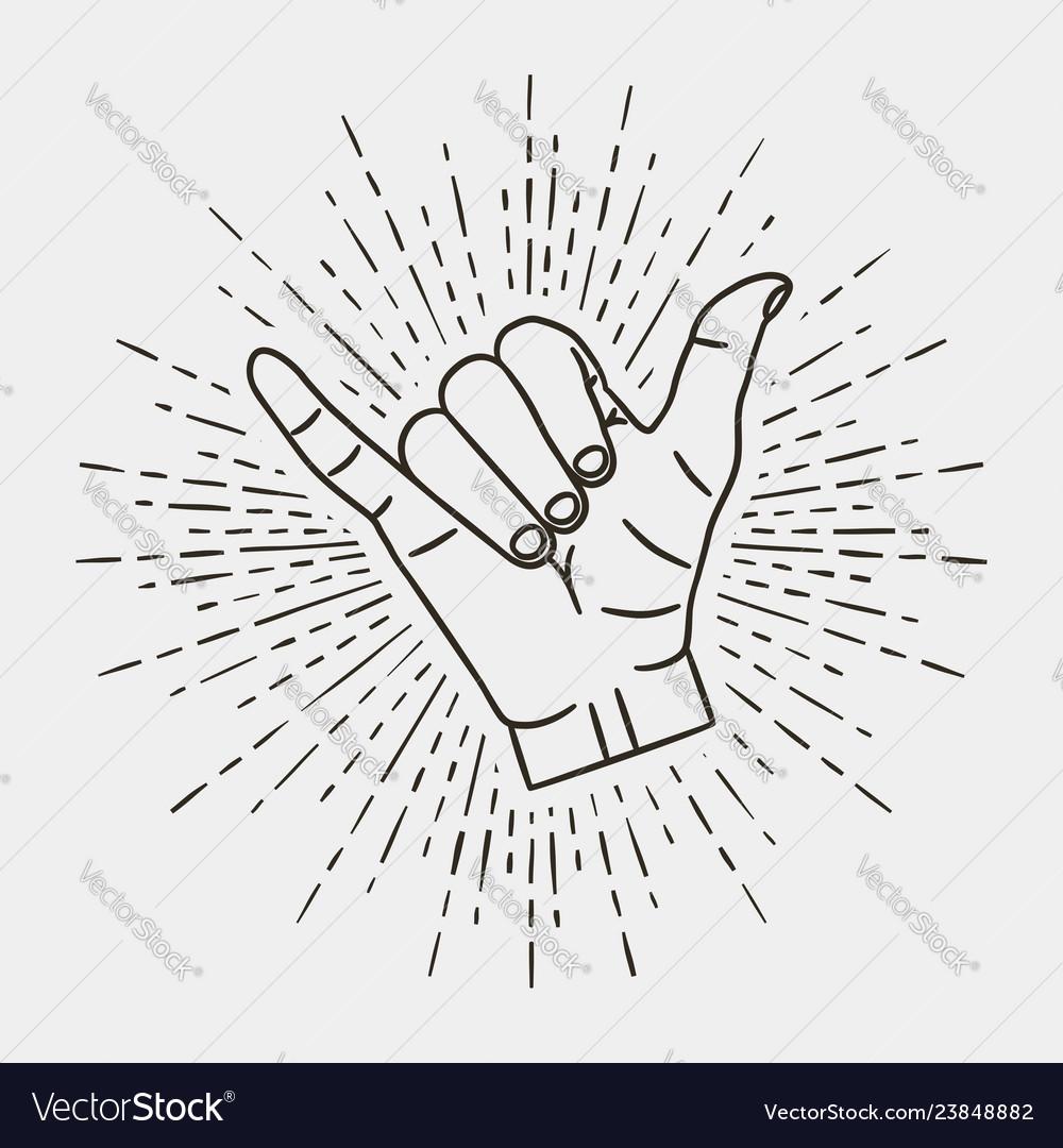 Shaka - surfing hand gesture with vintage sunburst