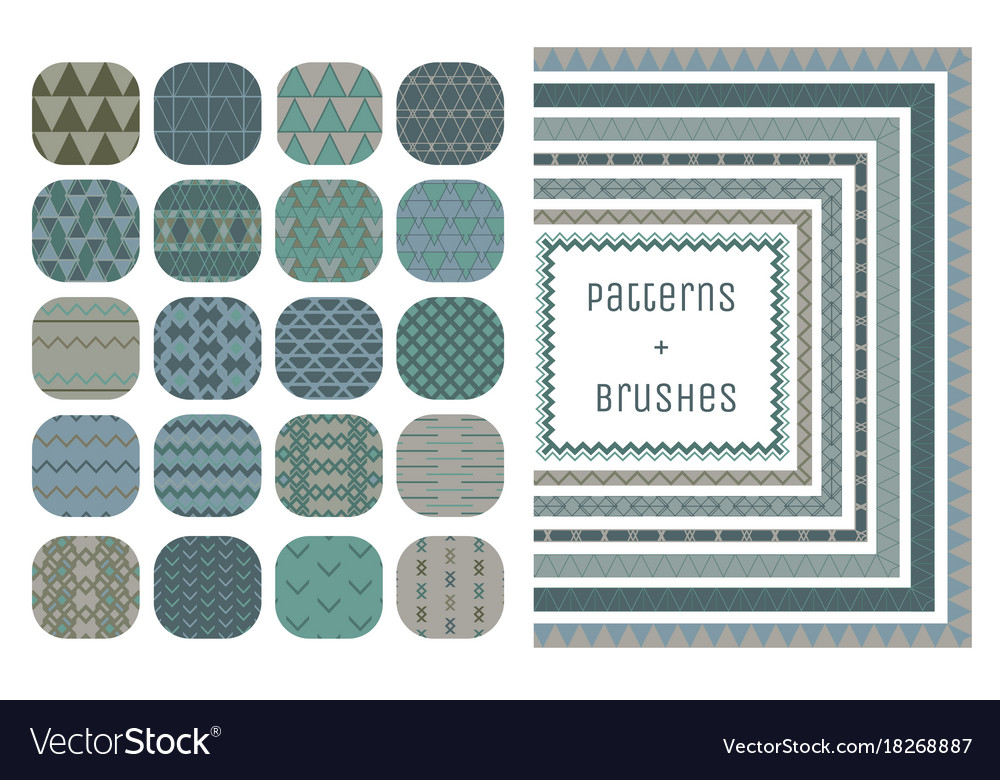 20 geometric patterns and 7 pattern brushes