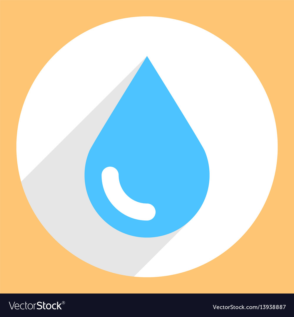 Blue water drop sign circle icon