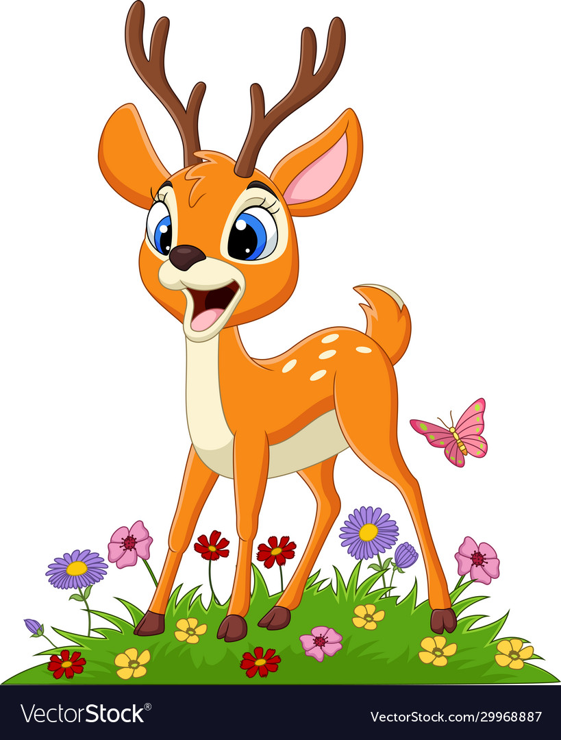 Cartoon deer in grass