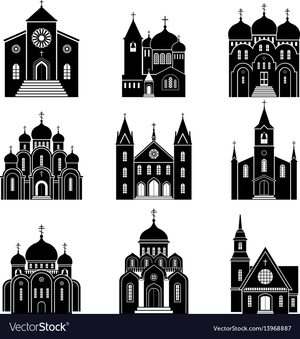 Church black silhouette icons vector image