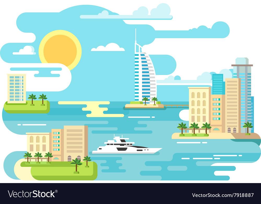 City beach design flat vector image