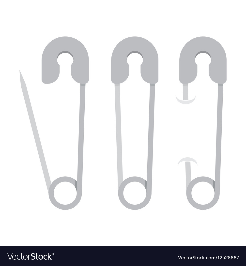 Collection of a open and closed safety pin