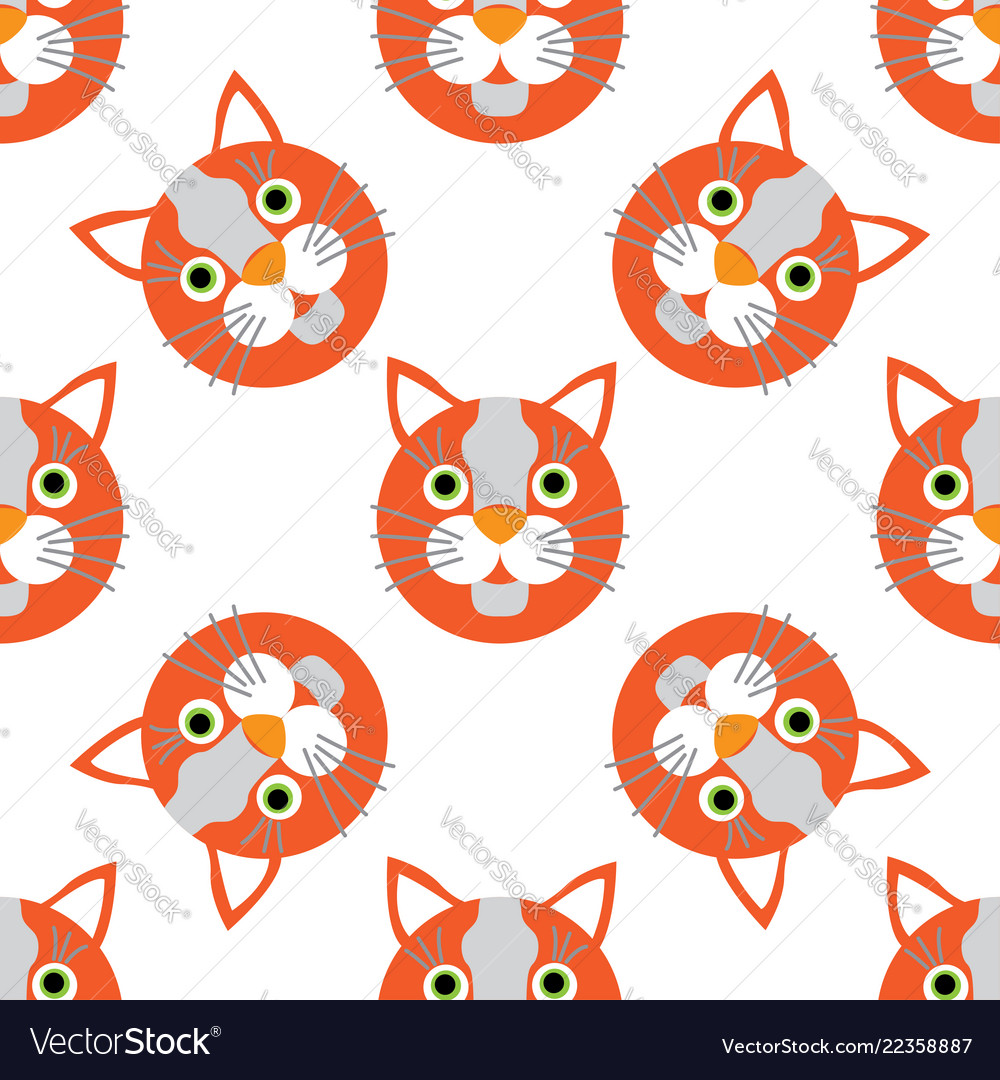 Cute cats faces seamless kids white orange pattern