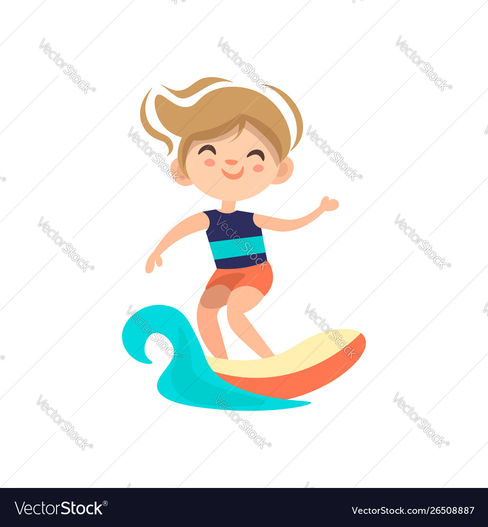 Kid surfing around blue ocean wave cartoon