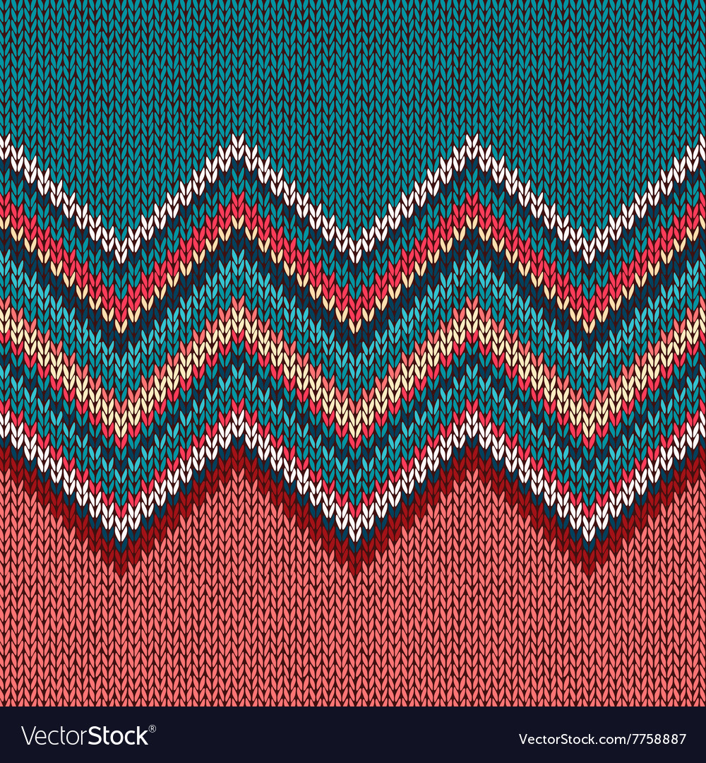 Seamless knitting pattern with wave ornament Vector Image