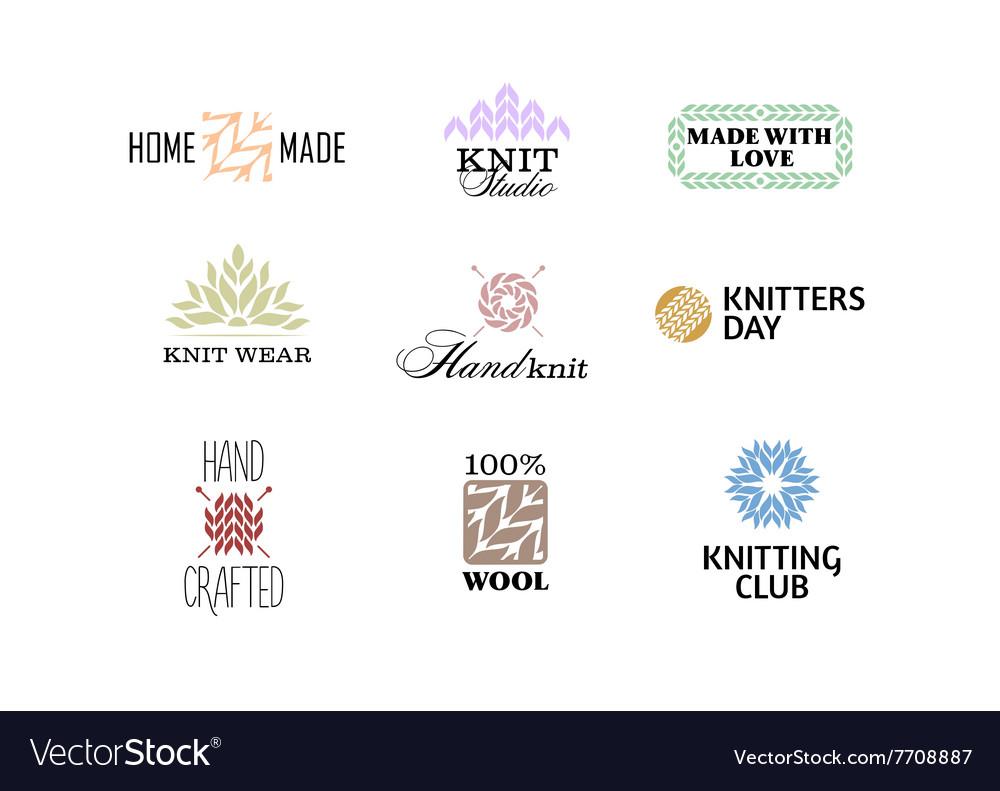 Set of vintage retro knitting badges vector image