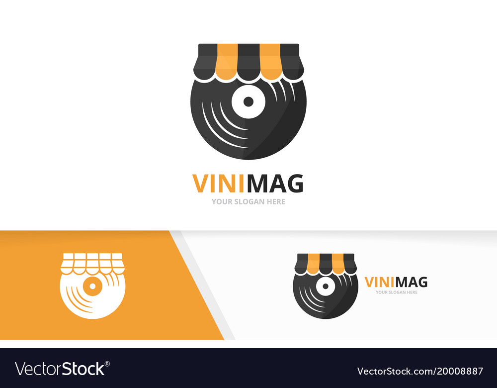Vinyl and shop logo combination record and