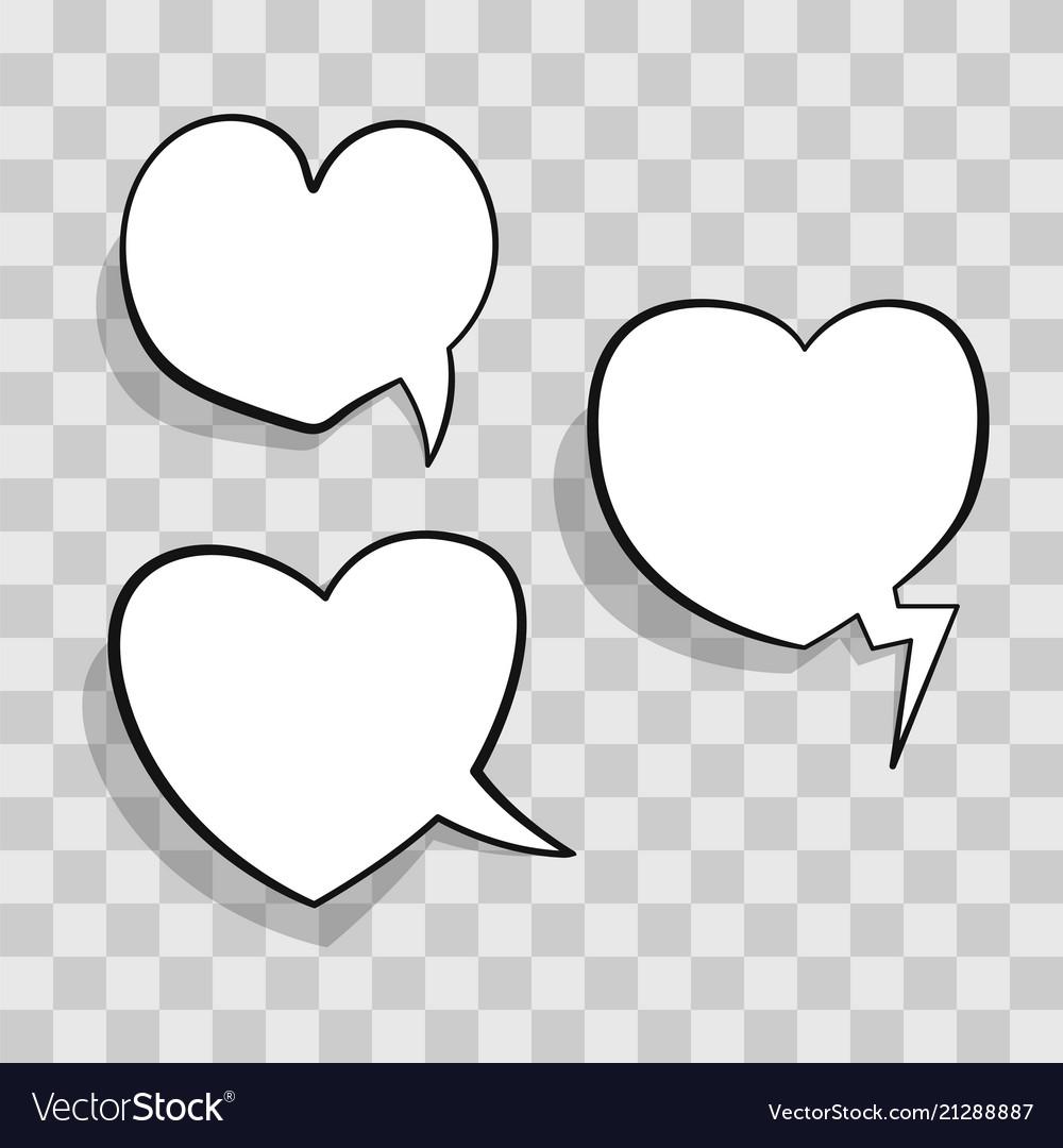 White speech bubble in heart shape for chat in