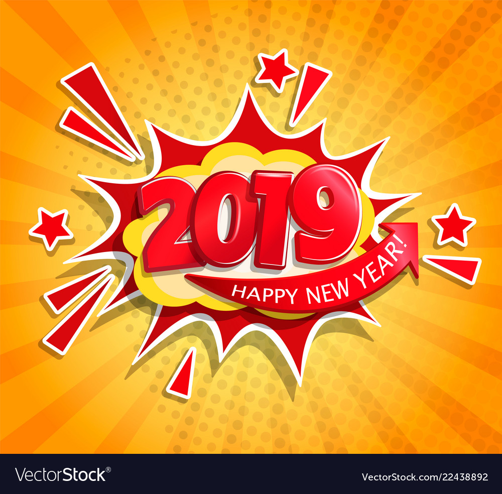2019 new year boom card in retro pop art style