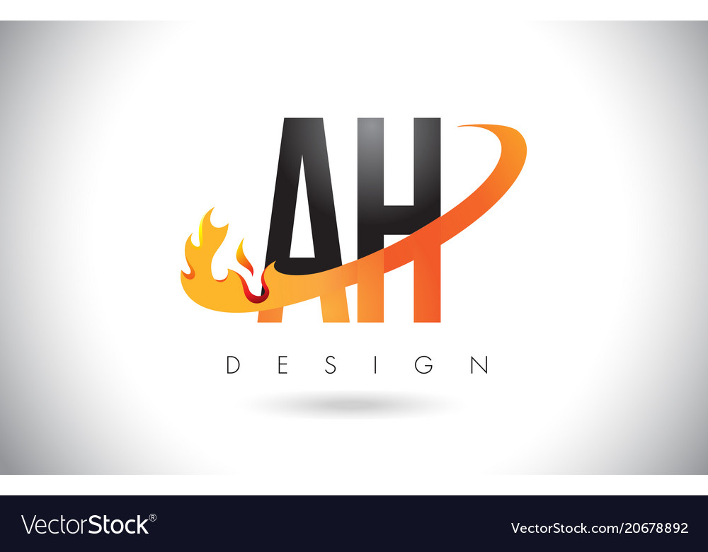Ah a h letter logo with fire flames design