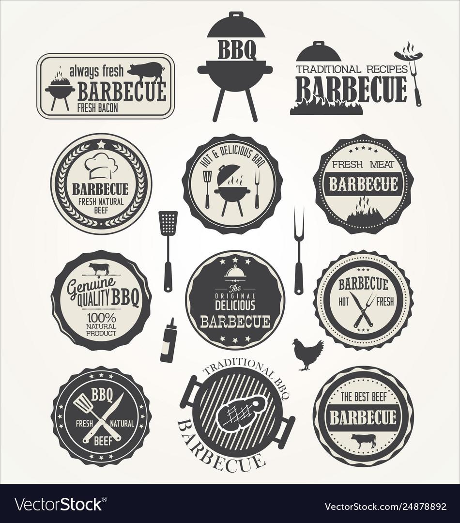 Barbecue retro badge collection