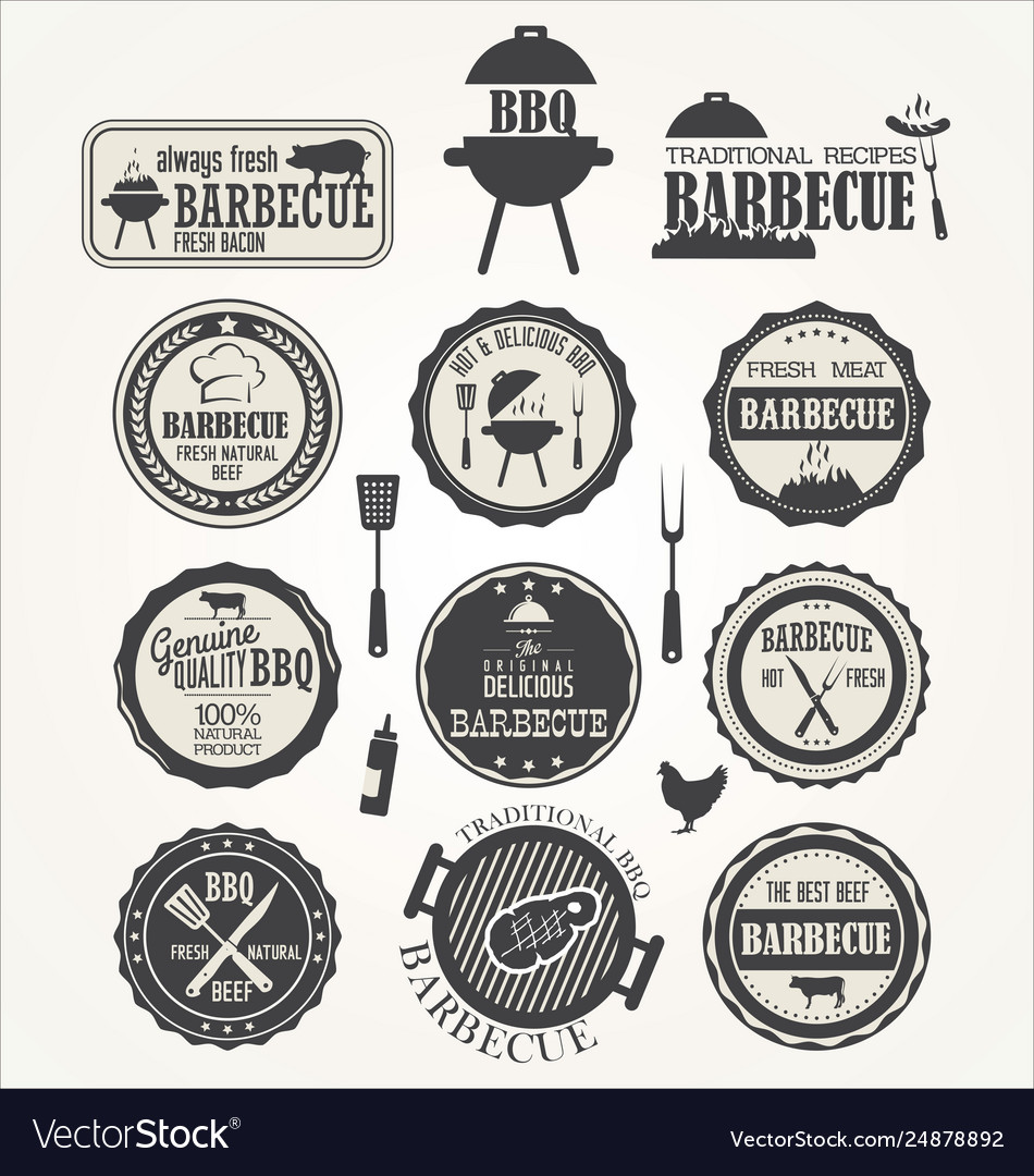 Barbeque retro badge collection