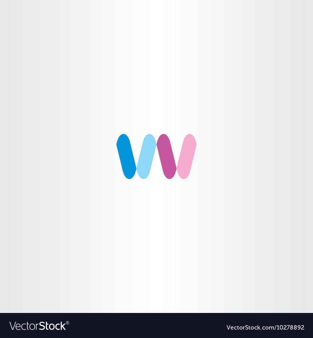 Blue pink letter w logo sign icon