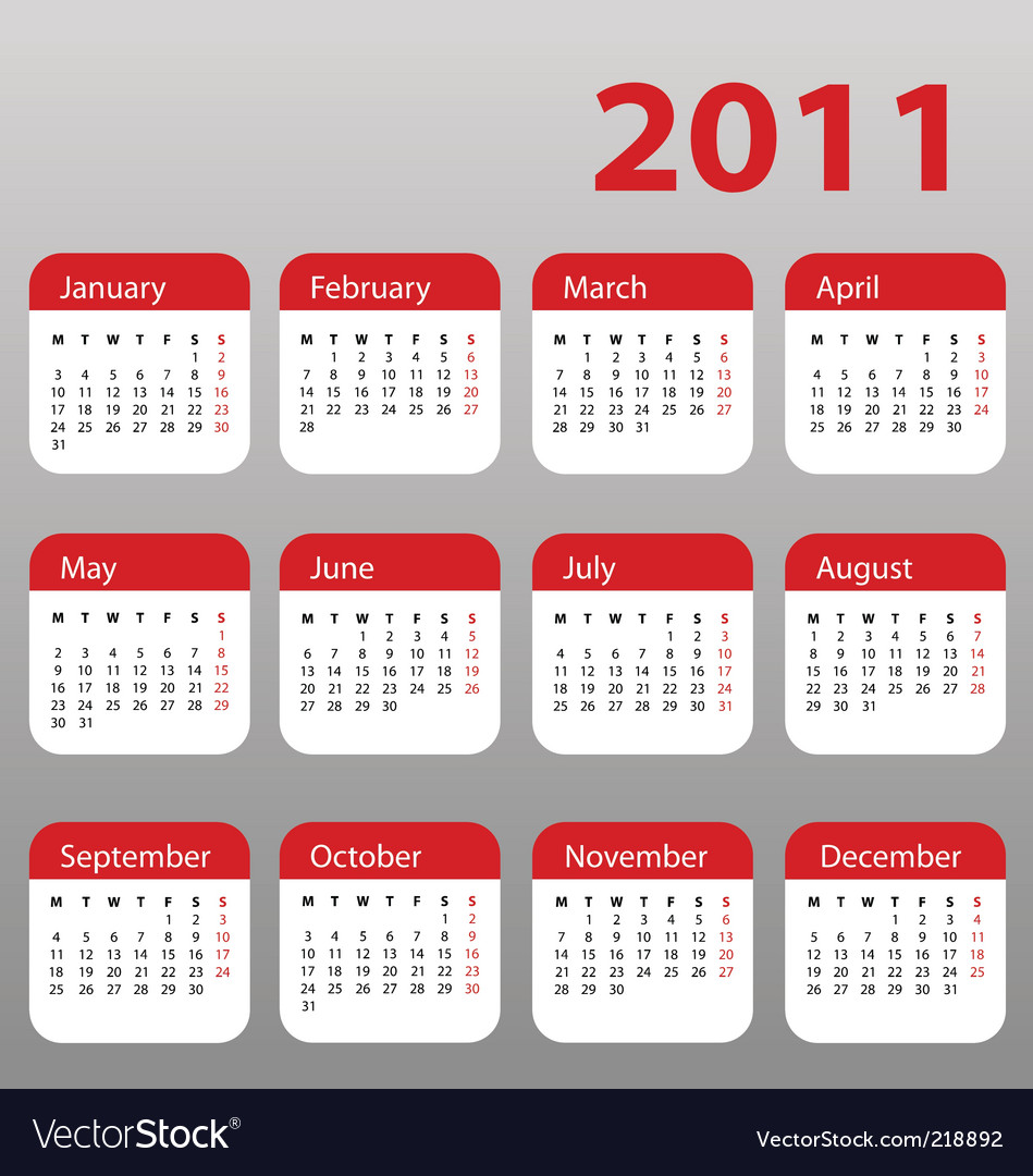 Calendar for 2011 vector image