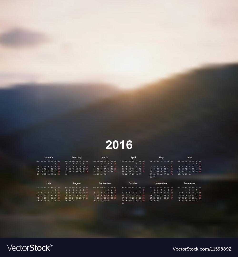 Calendar monthly 2017