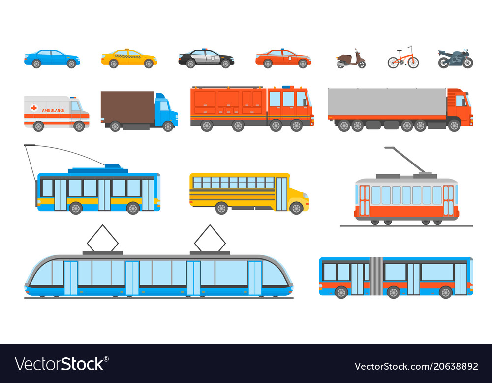 Cartoon urban transport icons set